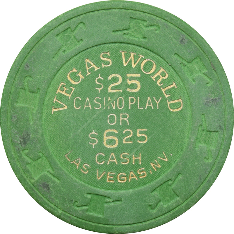 Vegas World Casino Las Vegas Nevada $25 Casino Play or $6.25 Cash Chip 1990 (Green)