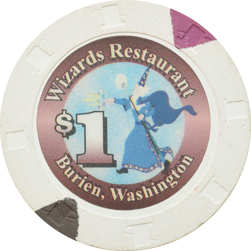 Wizards Restaurant Casino Burien WA $1 Chip