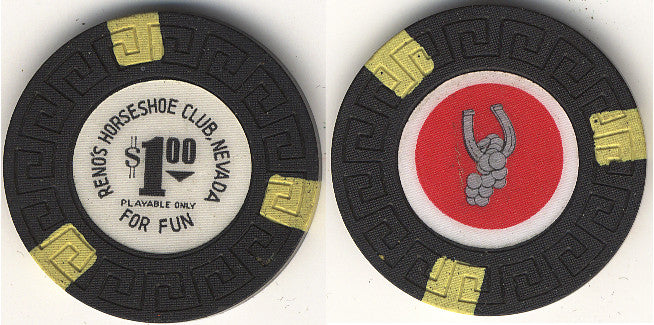 HorseShoe Club $1 (Blk double-sided) chip