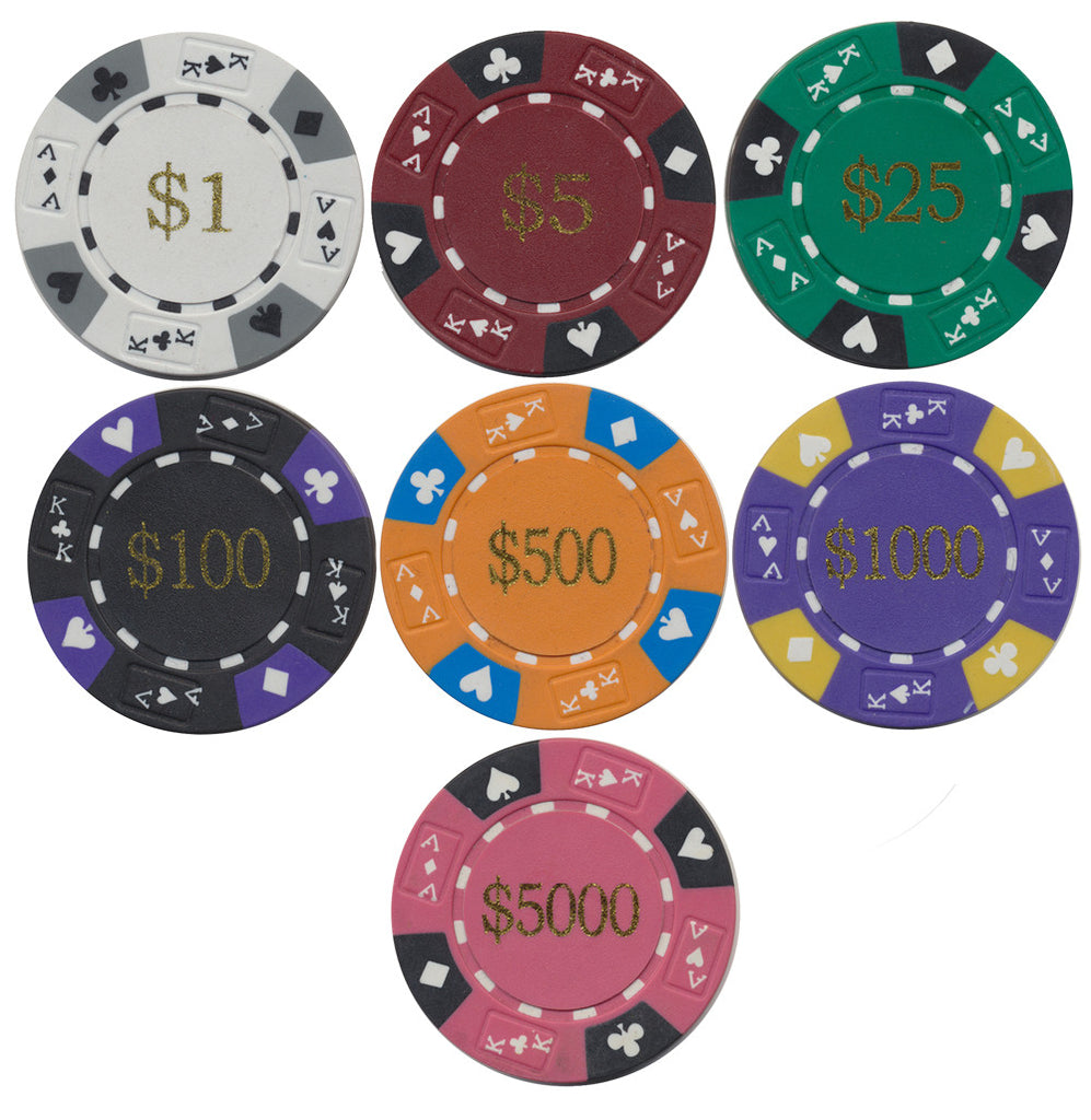Ace / King Series 14g Poker Chip With Denominations