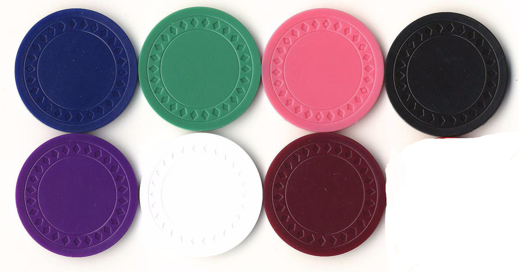 4 Gram Light Weight Plain Plastic Diamond Roulette or Poker Chips