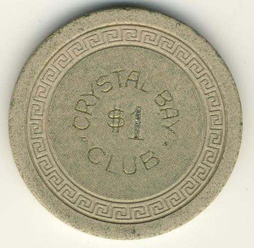 Crystal Bay Club $1 (cream 1960s) Chip - Spinettis Gaming - 1