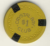 Crystal Bay Club $1 (yellow 1953) Chip - Spinettis Gaming - 1