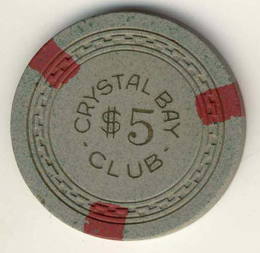 Crystal Bay Club $5 (gray 1950s) Chip - Spinettis Gaming - 2