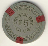 Crystal Bay Club $5 (gray 1950s) Chip - Spinettis Gaming - 1
