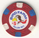 Bird Farm $5 (red 1988) Chip - Spinettis Gaming - 1