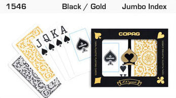 Copag 1546 Black/Gold Bridge Size 2 deck setup - Spinettis Gaming - 2