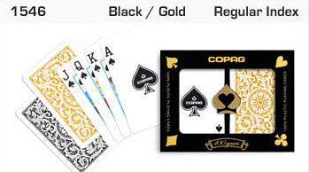 Copag 1546 Black/Gold Bridge Size 2 deck setup - Spinettis Gaming - 3
