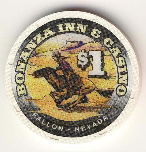 Bonanza Inn Fallon $1 ( white 1997) Chip - Spinettis Gaming - 1
