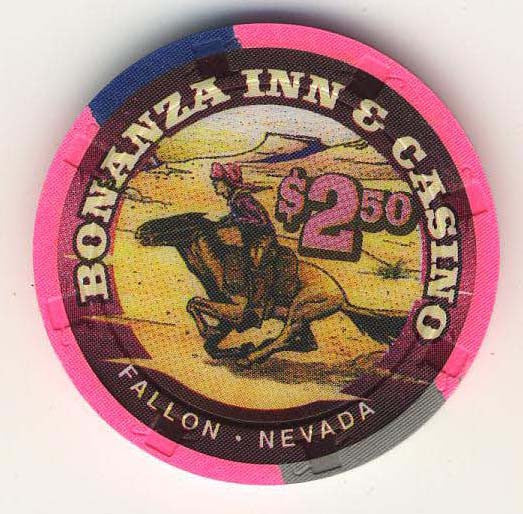 Bonanza Inn Fallon $2.50 ( hot pink 1997) Chip - Spinettis Gaming - 1