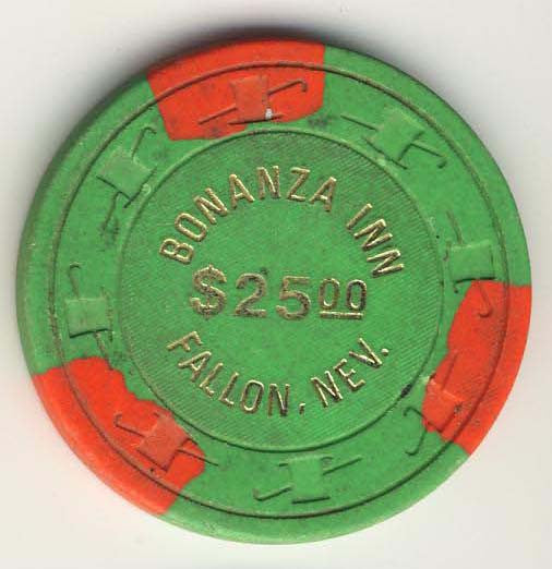 Bonanza Inn Fallon $25 ( green 1976) Chip - Spinettis Gaming - 1