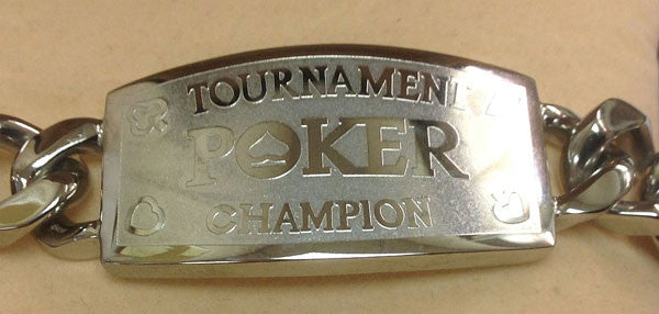 Silver Tournament Poker Champion Link Bracelet - Great Prize For Your Tournaments - Spinettis Gaming - 1