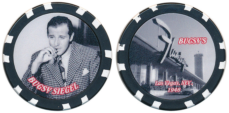 Bugsy Siegel Commemorative Chip with picture of Flamingo Casino - Spinettis Gaming