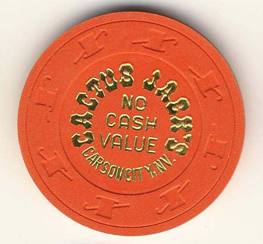 Cactus Jacks Casino no cash value (orange 1980s) Chip
