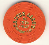 Cactus Jacks Casino no cash value (orange 1980s) Chip - Spinettis Gaming - 1