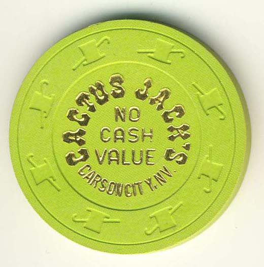 Cactus Jacks Casino no cash value (green 1980s) Chip