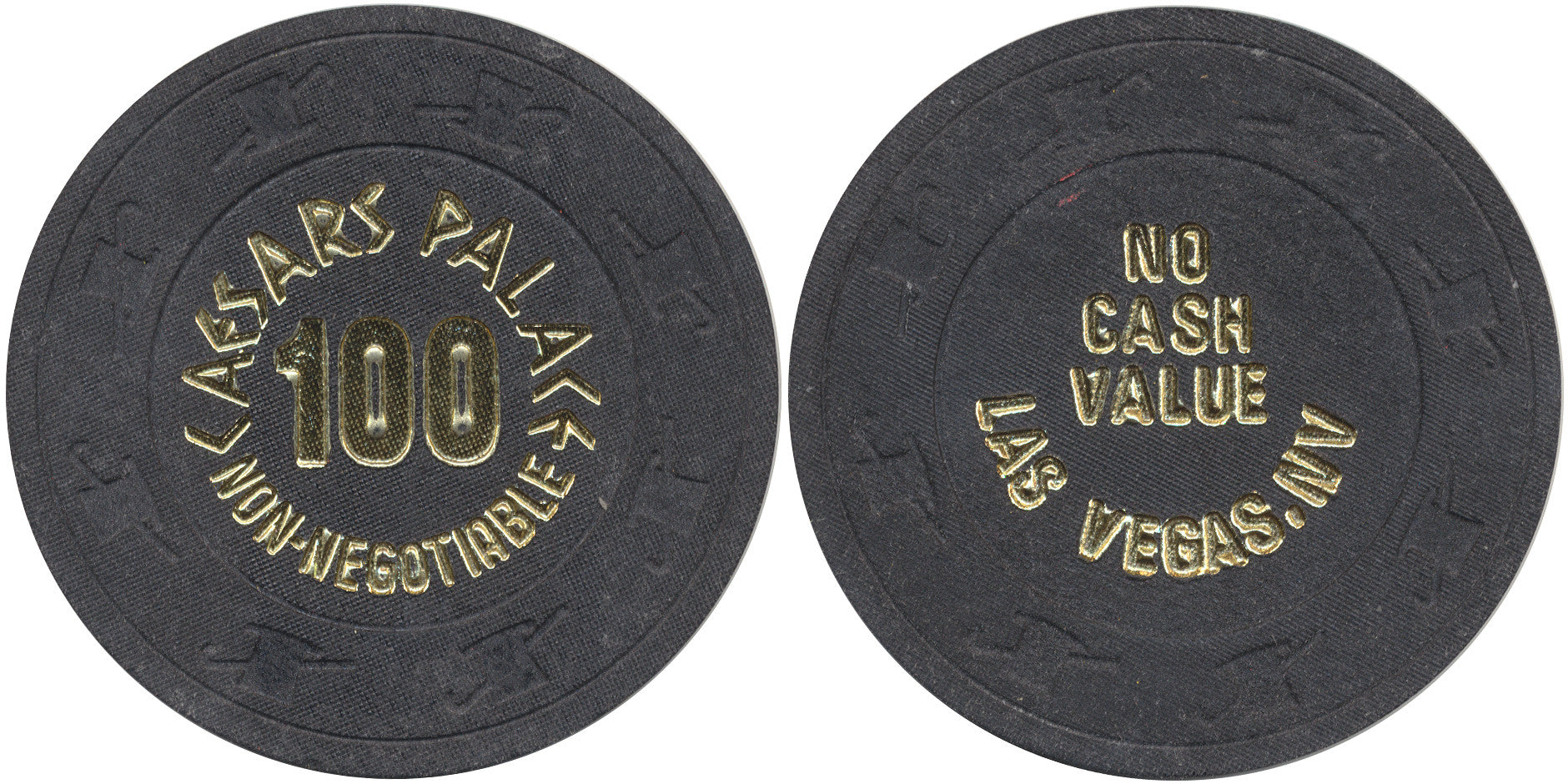 Caesars Palace 100 (black 1980s) Chip - Spinettis Gaming - 1