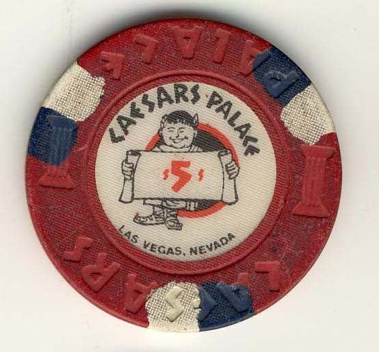 Caesars Palace $5 (red 70s 80s) chip - Spinettis Gaming - 1