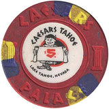 Caesars Tahoe (purple/yellow inserts) $5 Chip - Spinettis Gaming - 2