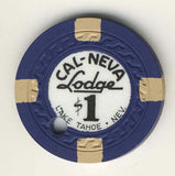 Cal-Neva Lodge Lake Tahoe $1 (canceled navy) - Spinettis Gaming - 2