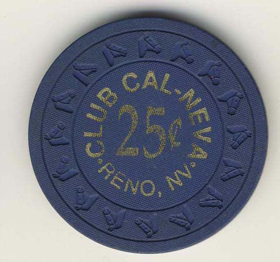 Club Cal-Neva 25 (navy 1970s) Chip - Spinettis Gaming - 1