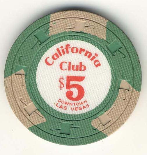 California Club $5 Green (3 beige inserts 1960s) Chip