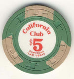 California Club $5 Green (3 beige inserts 1960s) Chip - Spinettis Gaming - 1