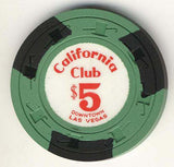 California Club $5 Green (3 black inserts 1960s) - Spinettis Gaming - 1