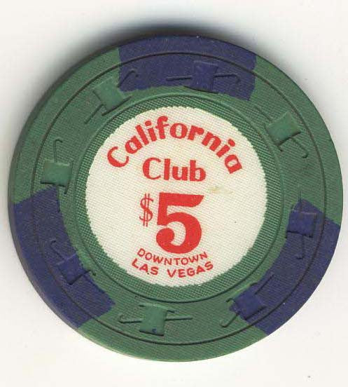 California Club $5 Green (3 navy inserts 1960s) Chip - Spinettis Gaming - 1