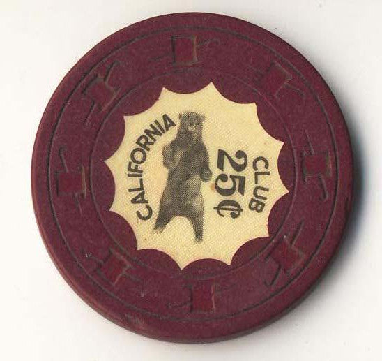 California Club 25 ( dk red 1960s) Chip - Spinettis Gaming - 1
