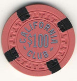 California Club $100 salmon (4-black inserts 1950s) Chip - Spinettis Gaming - 1