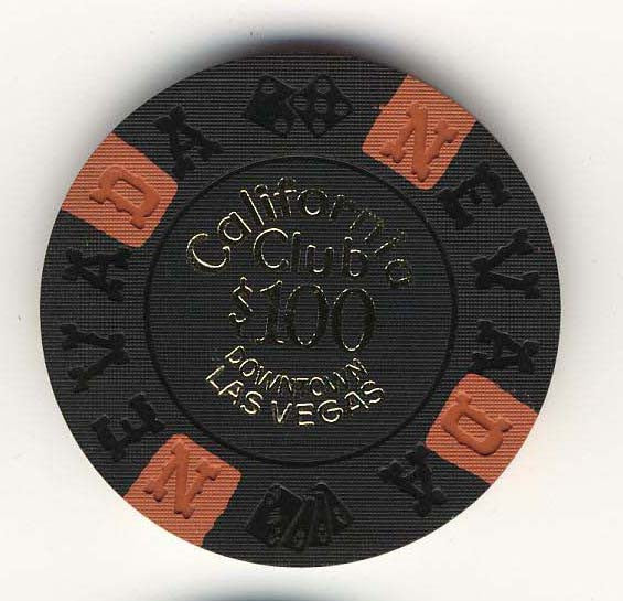 California Club $100 black (4-orange inserts 1960s) Chip