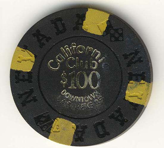 California Club $100 black (4-yellow inserts 1970) Chip - Spinettis Gaming - 1