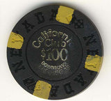California Club $100 black (4-yellow inserts 1970) Chip - Spinettis Gaming - 2