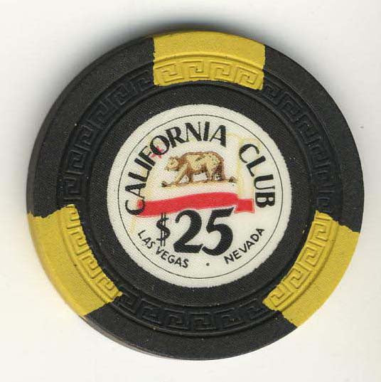 California Club $25 (black 1950s) Chip - Spinettis Gaming - 1