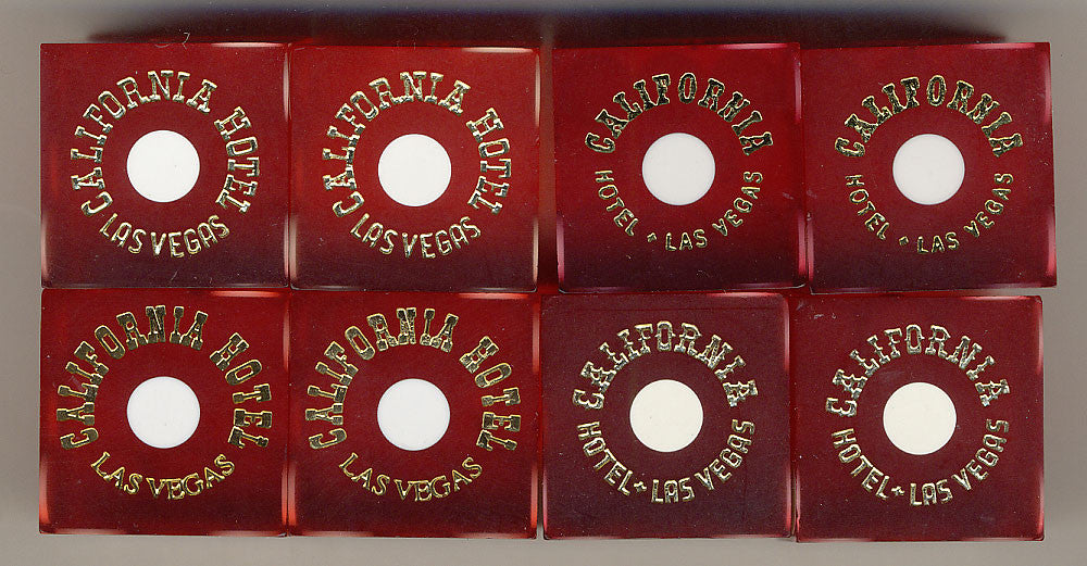 California Hotel Used Casino Red Dice, Pair