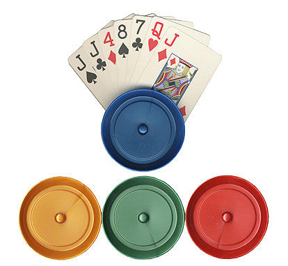 4 Round Plastic Playing Card Holders - 4 Different Colors
