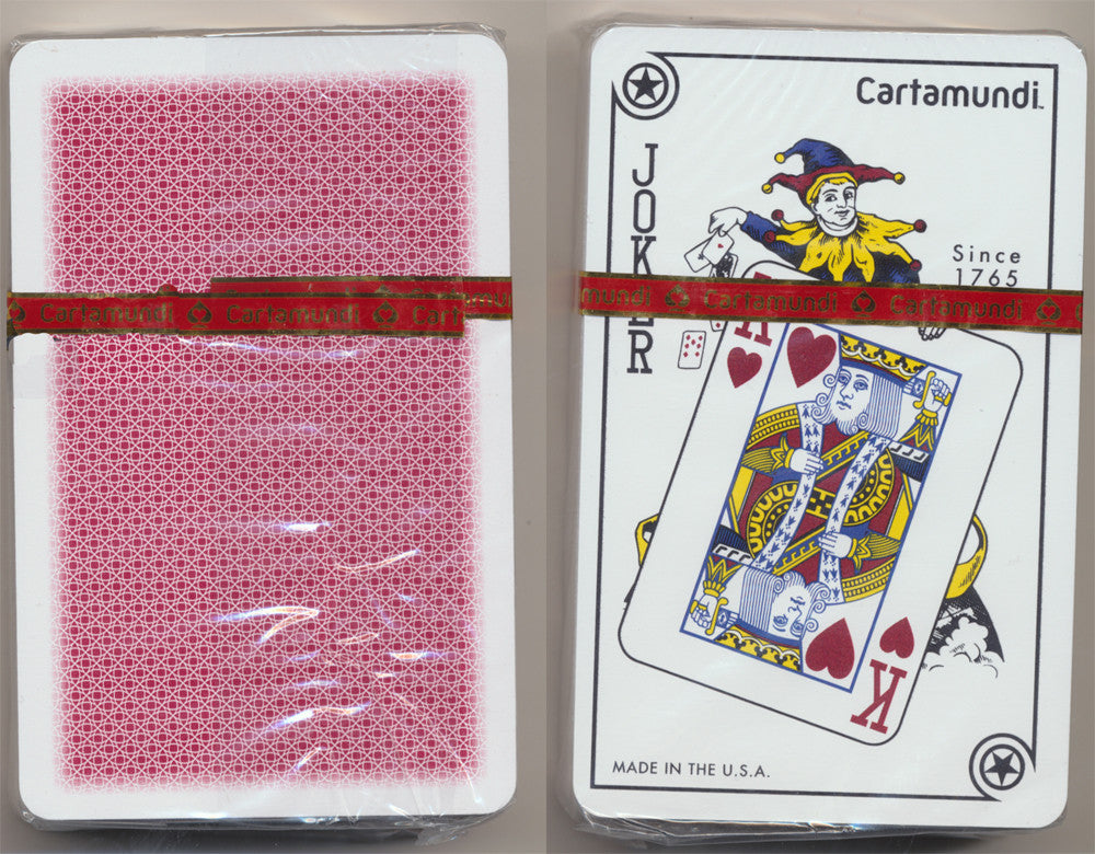 Cartamundi 100% Plastic Single Red Deck - Bridge Size - Standard Index - Casino Quality Playing Cards