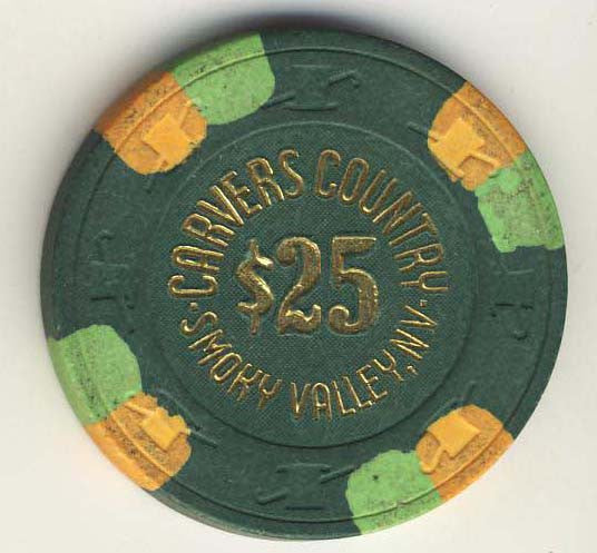 Carvers Country $25( green 1983) Chip - Spinettis Gaming - 1