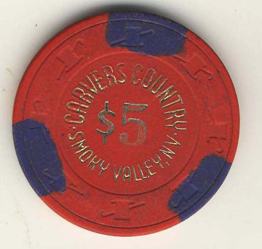 Carvers Country $5( red 1983) Chip - Spinettis Gaming - 2