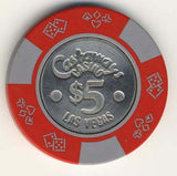 Castaways $5 (red 1980s) Chip - Spinettis Gaming - 1