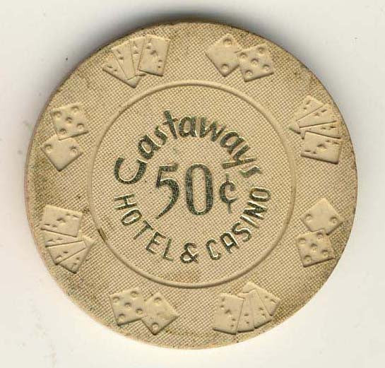 Castaways Casino 50 cent (beige) Chip - Spinettis Gaming - 1