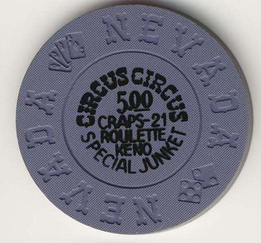 Circus Circus $5 special junket (blue/gray 1970s) Chip - Spinettis Gaming - 1