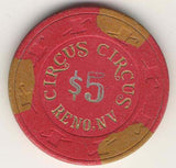 Circus Circus $5 (red 1989) Chip - Spinettis Gaming - 1