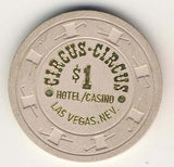 Circus Circus $1 (cream 1980s) Chip - Spinettis Gaming - 1