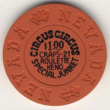 Circus Circus $1 special junket (orange 1970s) Chip - Spinettis Gaming - 1