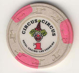 Circus Circus $1 (cream 1990) Chip - Spinettis Gaming