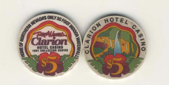 Clarion Casino $5 (white) chip - Spinettis Gaming - 1