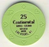 Continental 25 no cash value (green 1990s) Chip - Spinettis Gaming - 2