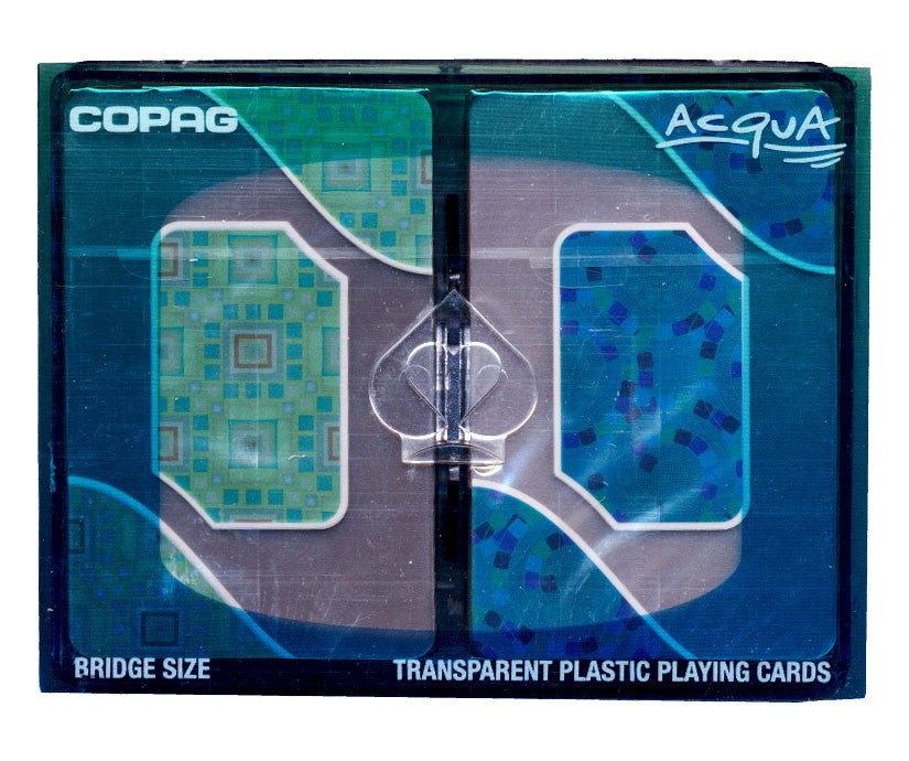 Copag Acqua Blue/Green Transparent Plastic Bridge Size Jumbo Index Set 2 deck setup